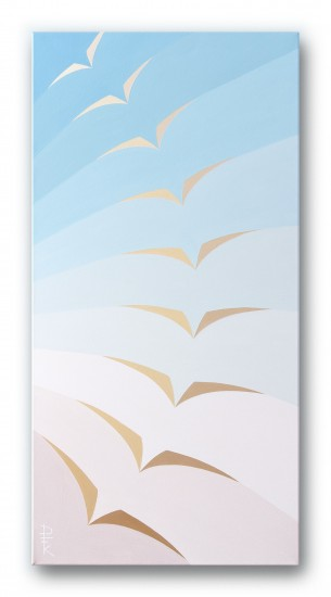"""Freedom"" - airy pastel birds, color field"