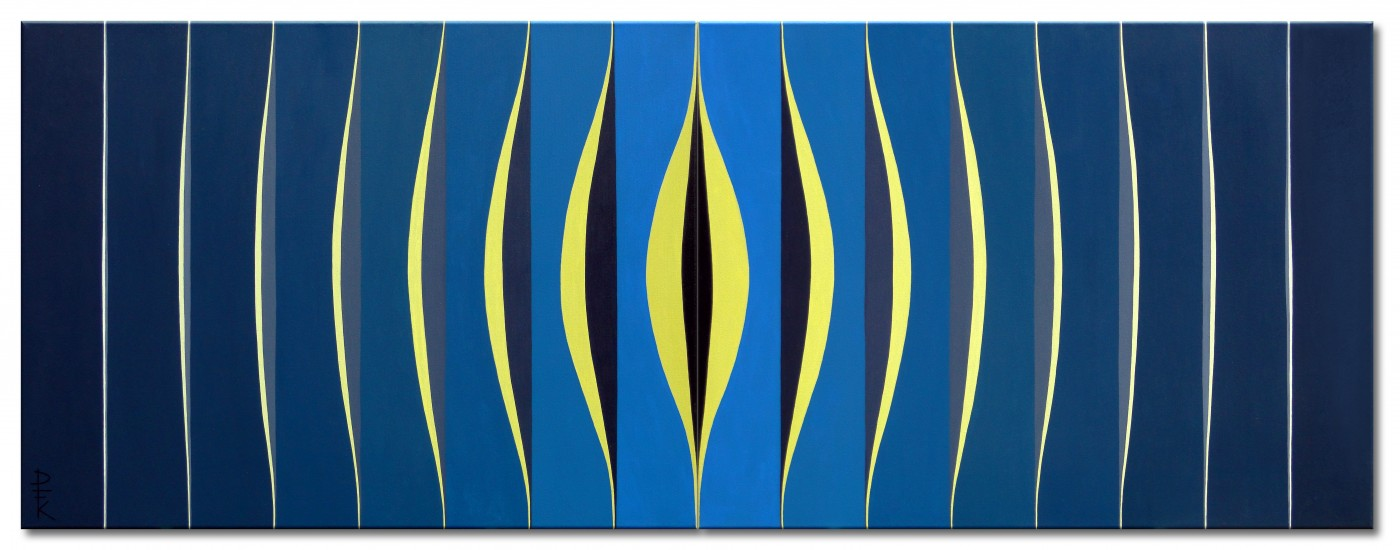 """Night"" - dark blue op art diptychon"