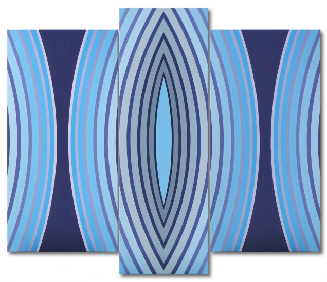"""Splendor"" - tryptich, op art, geometric painting"
