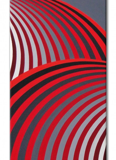 """Red composition"" - Japanese style op art painting"