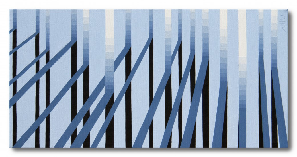 """Shadow play 3"" - cool, fresh, winter op art painting"