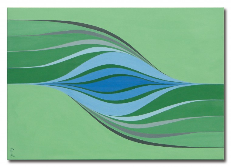 """Current"" - green color field painting"